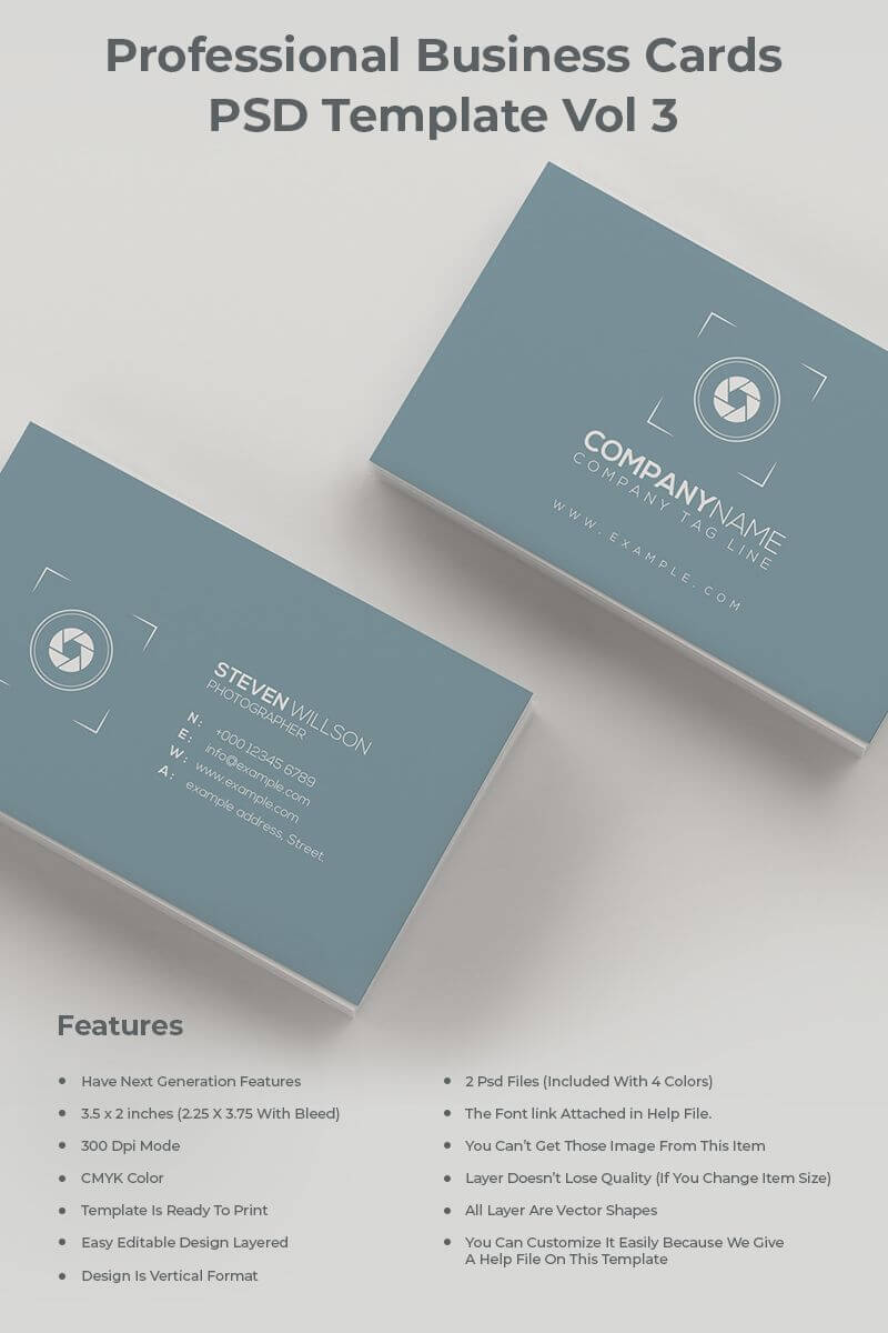 Minimal & Sophisticated Photography Business Card Corporate Inside Photographer Id Card Template