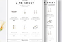 Minimalist Line Sheet Template, Wholesale Catalog, 4 Layouts inside Product Line Card Template Word