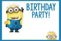 Minions Birthday Invitation Card Template Interesting Minion with Minion Card Template