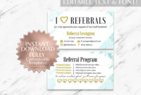 Mint Floral Rodan And Fields Referral Card Instant Download in Referral Card Template