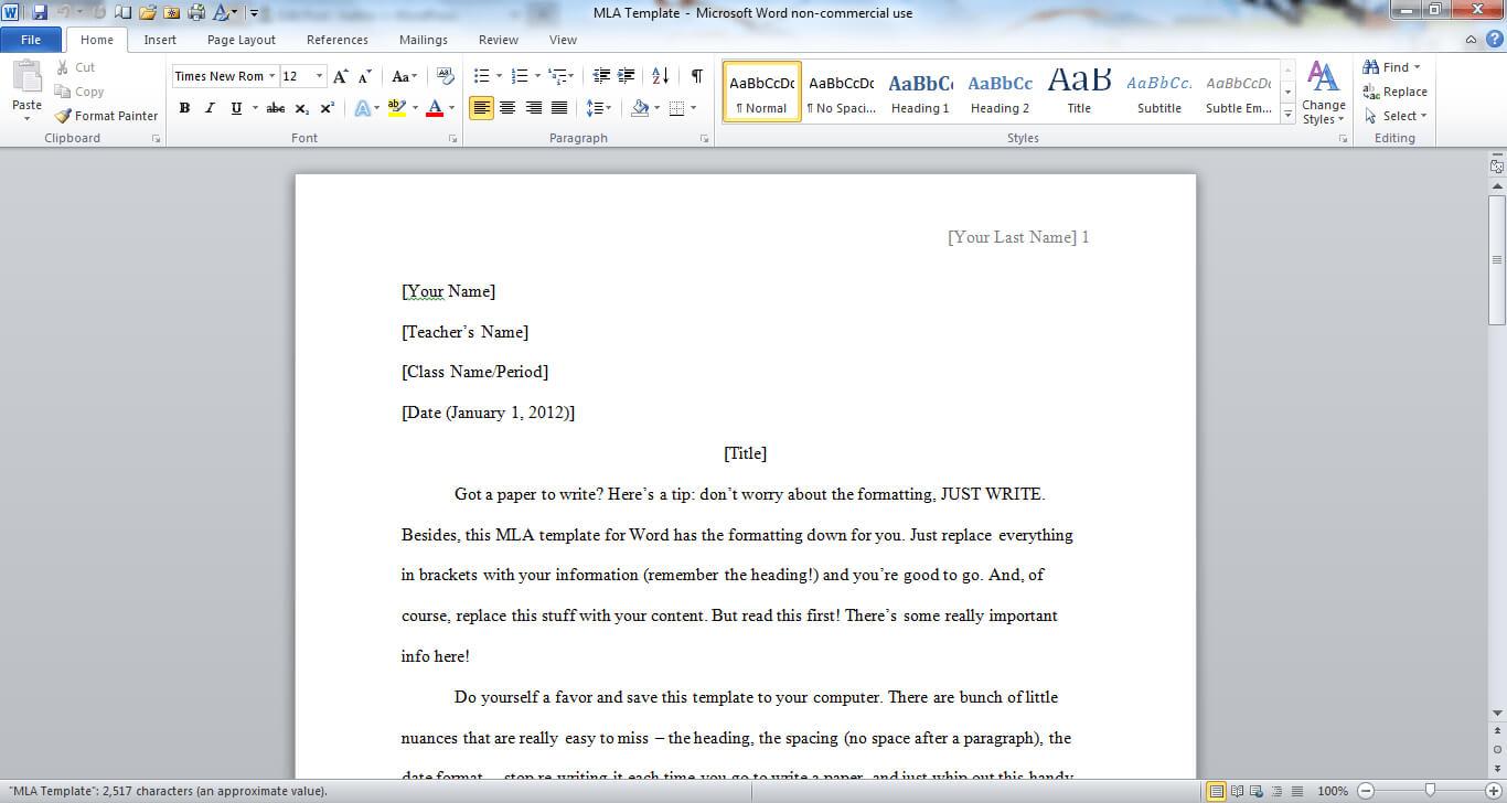 Mla Format Word Doc - Ironi.celikdemirsan Throughout Mla Format Word Template