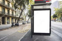 Mock Up Billboard Banner Template At Bus Stop Media Outdoor pertaining to Street Banner Template