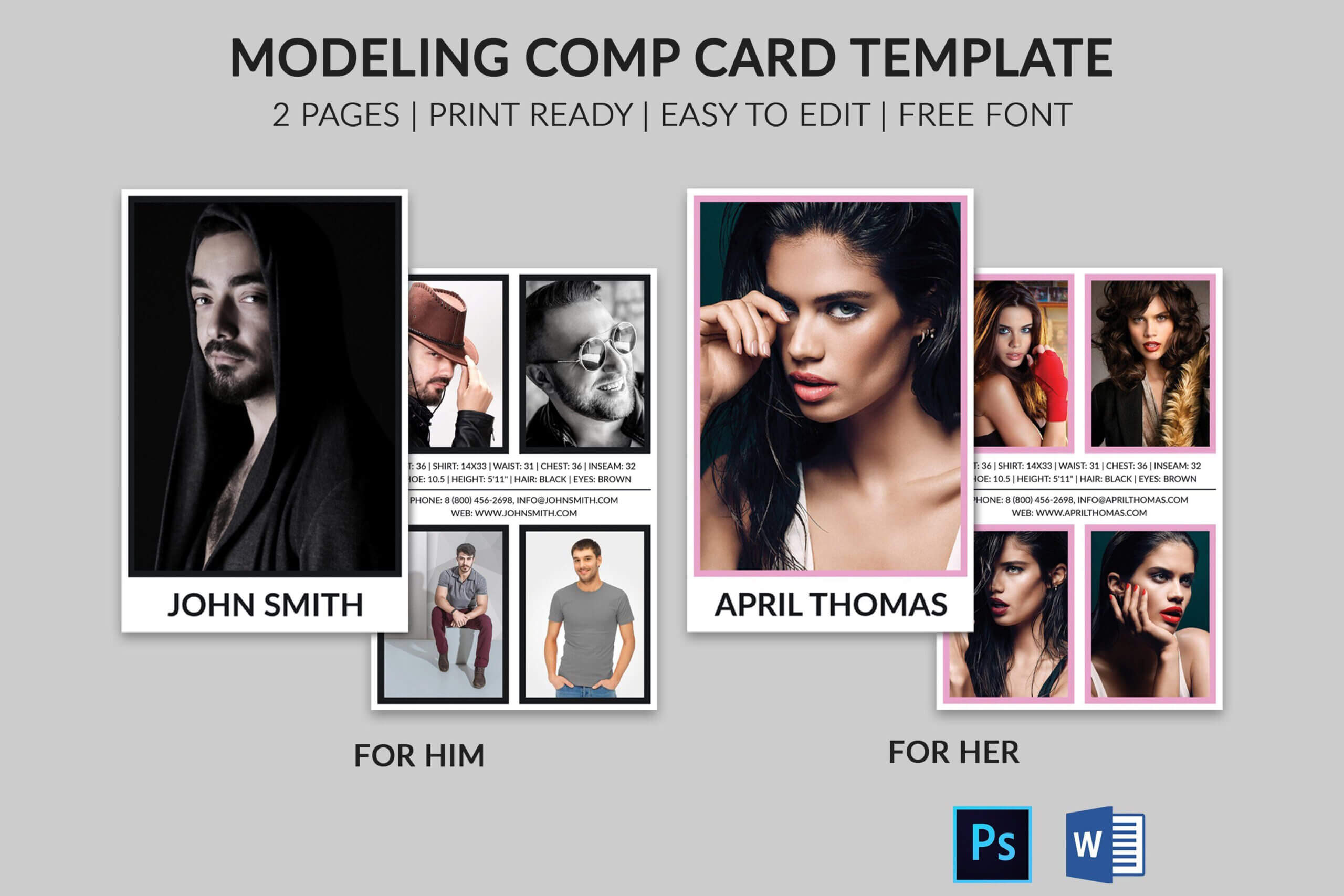 Modeling Comp Card | Model Agency Zed Card | Photoshop & Ms In Free Model Comp Card Template Psd