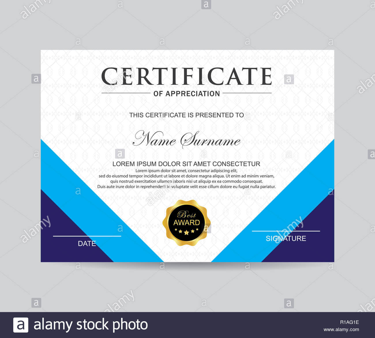 Modern Certificate Template And Background Stock Photo With Regard To Borderless Certificate Templates