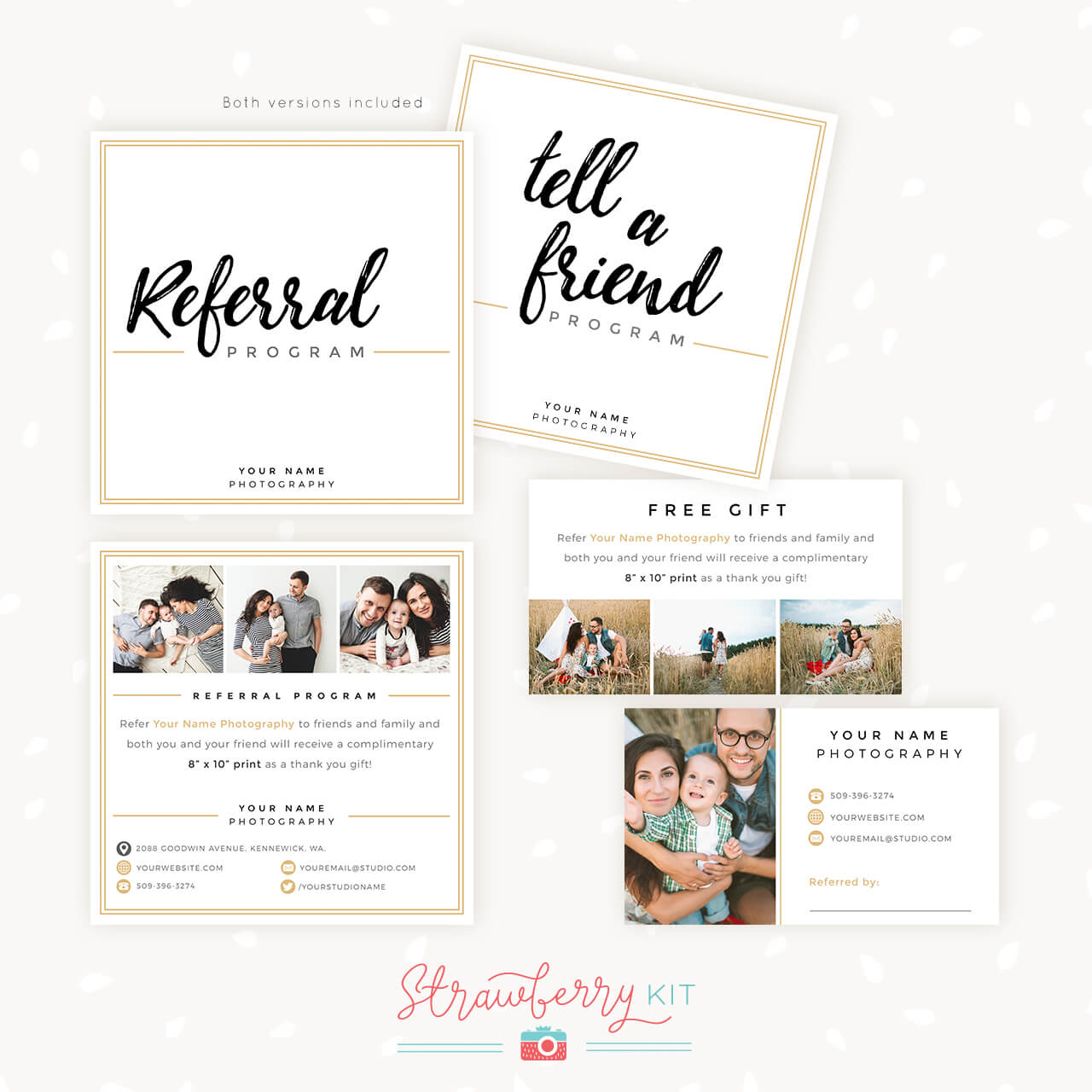 Modern Hand Lettering Referral Card Set - Strawberry Kit With Photography Referral Card Templates