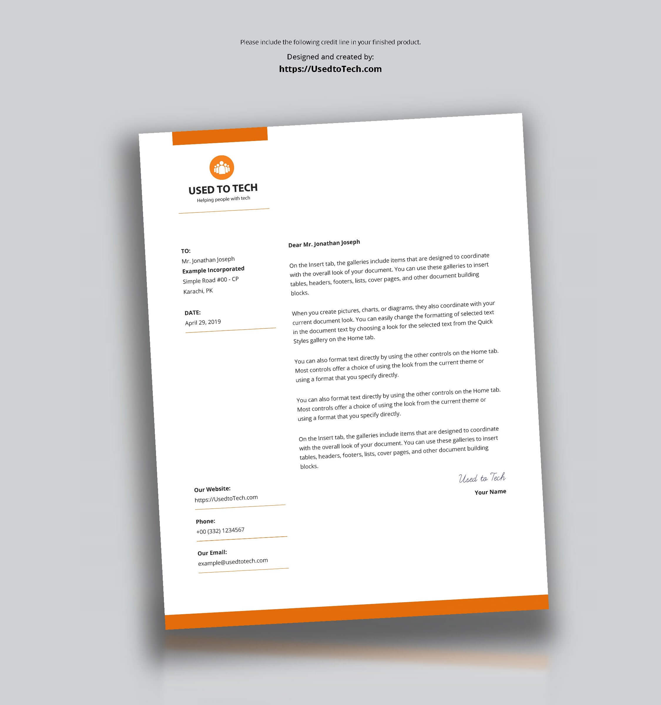 Modern Letterhead Template In Microsoft Word Free - Used To Tech With Free Letterhead Templates For Microsoft Word