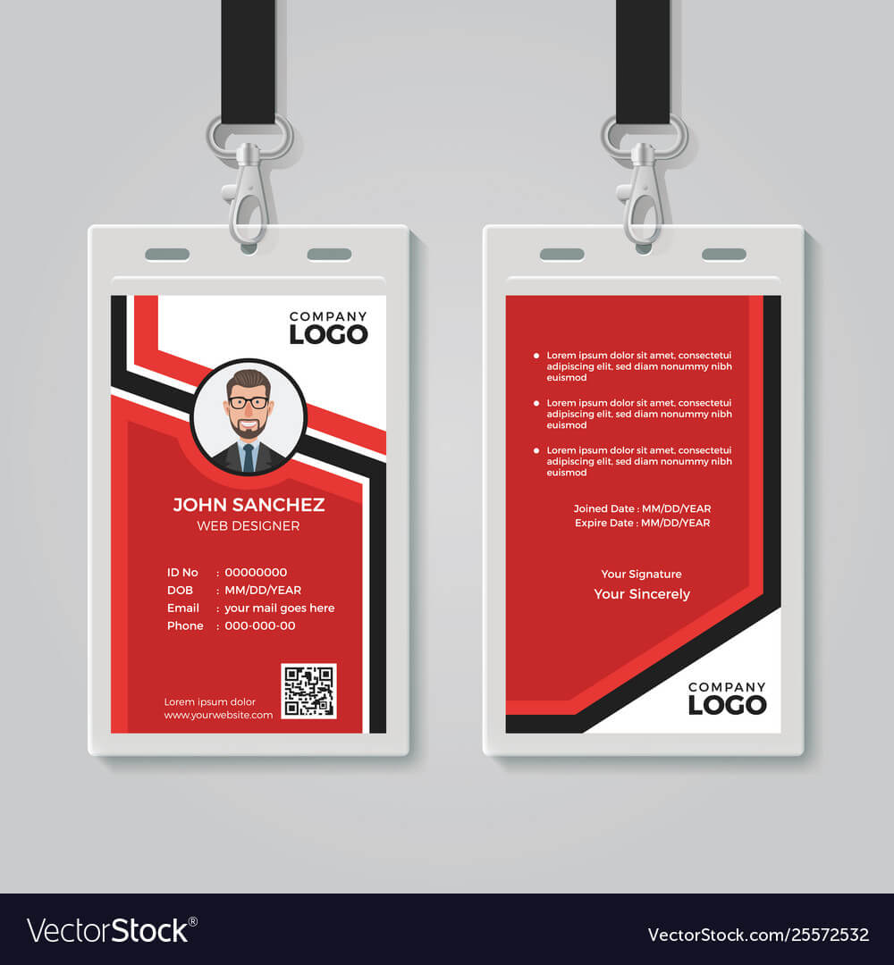 Modern Red Id Card Template Within Id Card Template Ai