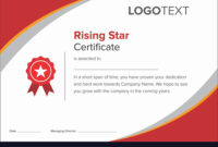 Modern Red Rising Star Certificate for Star Performer Certificate Templates