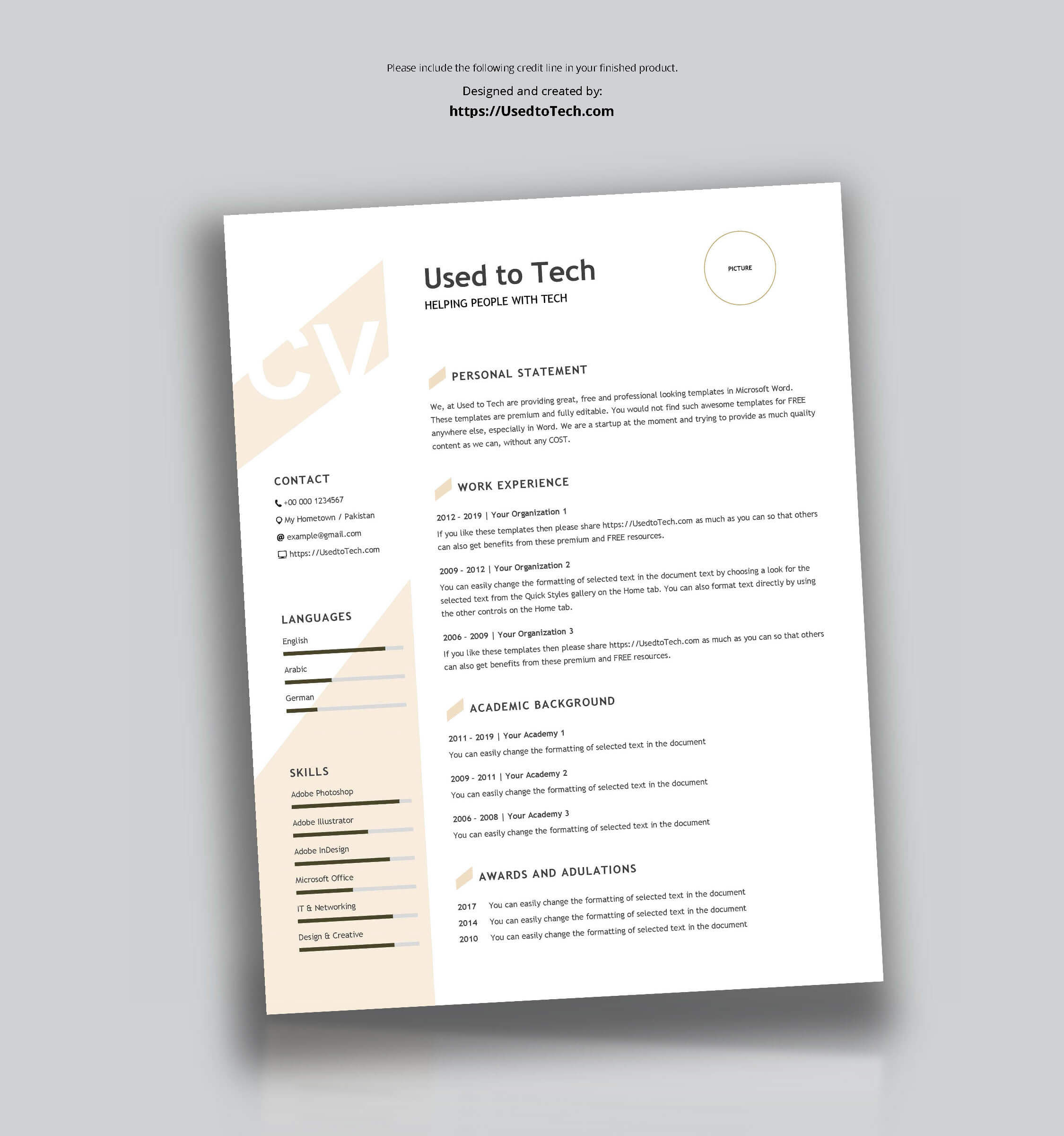 Modern Resume Template In Word Free – Used To Tech Intended For How To Get A Resume Template On Word