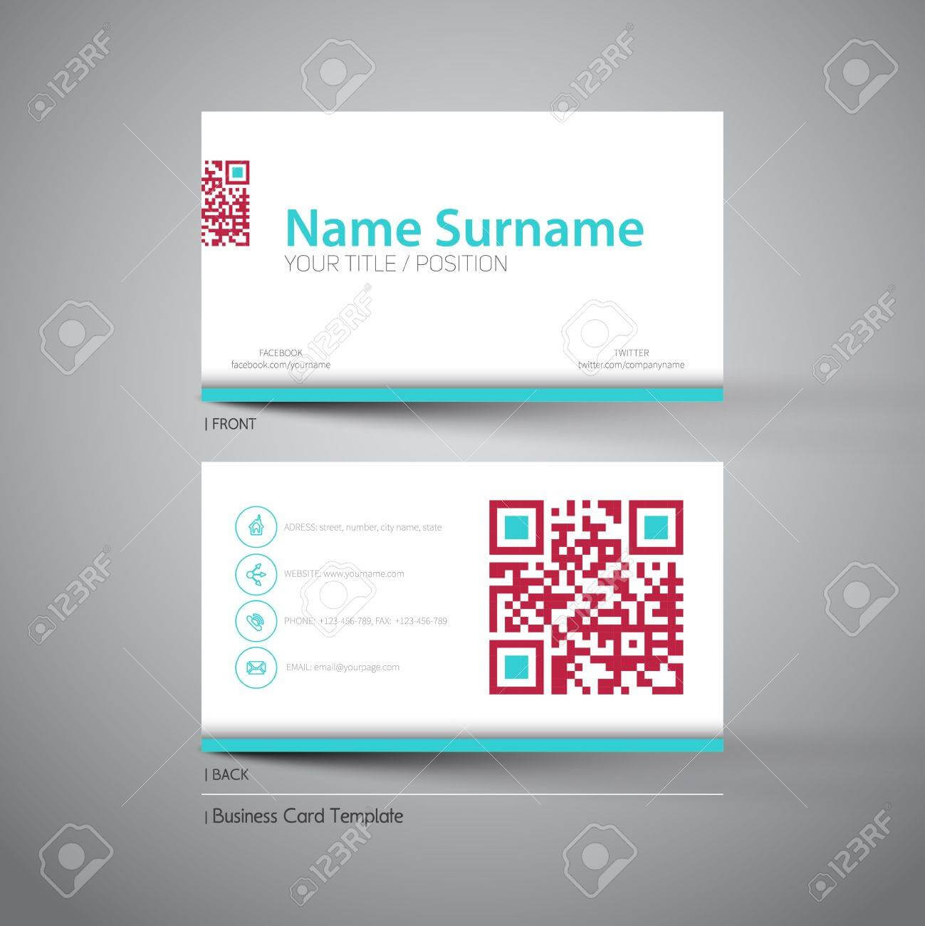 Modern Simple Light Business Card Template With Big Qr Code Intended For Qr Code Business Card Template