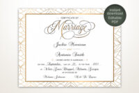 Modern Wedding Certificate, Printable Certificate Of with Certificate Of Marriage Template