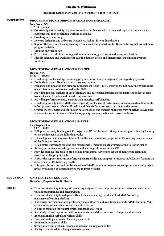 Monitoring & Evaluation Resume Samples   Velvet Jobs Regarding M&e Report Template