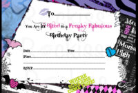 Monster High Invitations Download Free | Monster High within Monster High Birthday Card Template