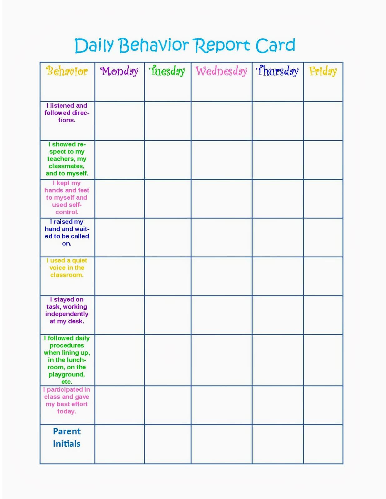 Monthly Behavior Chart Template New Calendar Template Site Within Daily Behavior Report Template
