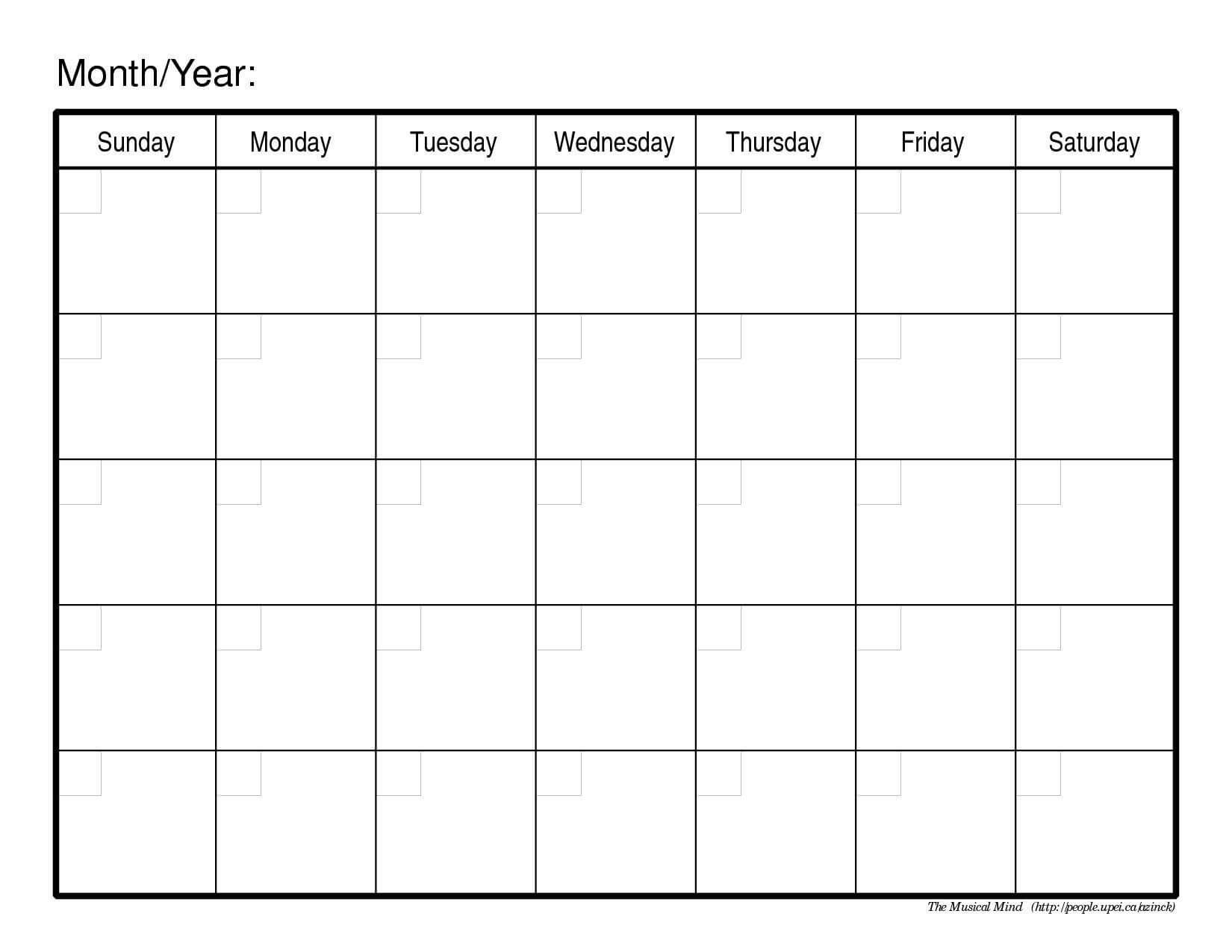 Monthly Calendar Free Printable | Printable Calendar 2014 Throughout Full Page Blank Calendar Template