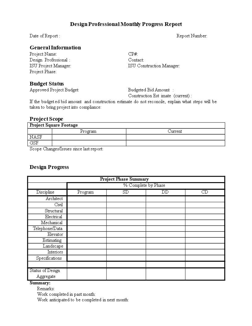 Monthly Progress Report In Word | Templates At With Regard To Monthly Progress Report Template