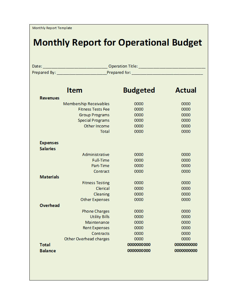 Monthly Report Template Throughout How To Write A Monthly Report Template