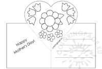 Mothers Day Card With Heart Pop-Up Template – Coloring Page intended for Pop Out Heart Card Template