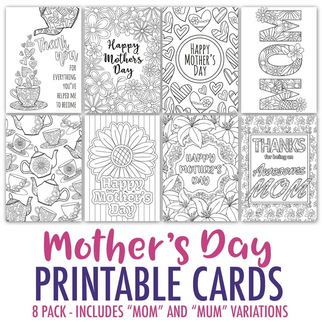 Mother's Day Coloring Cards | 8 Pack | Mothers Day Card Regarding Mothers Day Card Templates