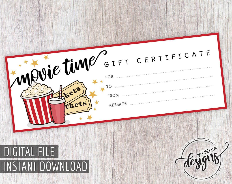 Movie Gift Certificate, Birthday Gift Certificate Printable Inside Movie Gift Certificate Template