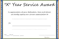 Multi-Year Service Award Certificate Template intended for Certificate For Years Of Service Template