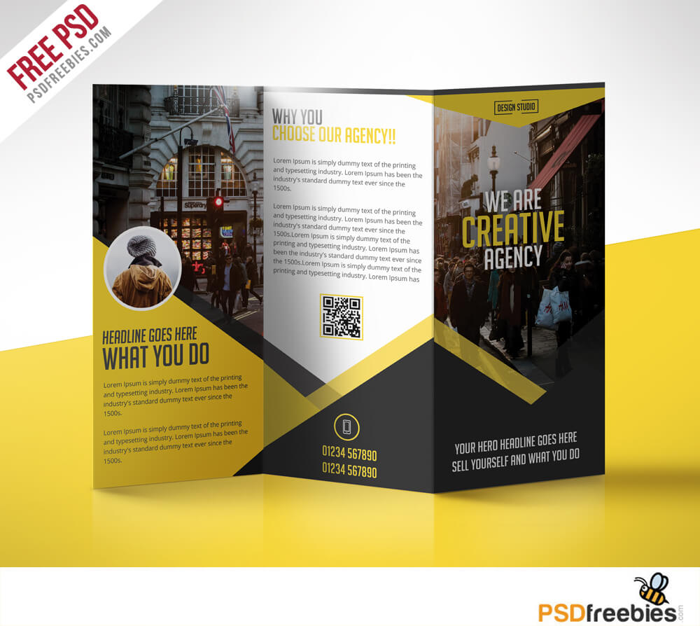 Multipurpose Trifold Business Brochure Free Psd Template For Free Three Fold Brochure Template