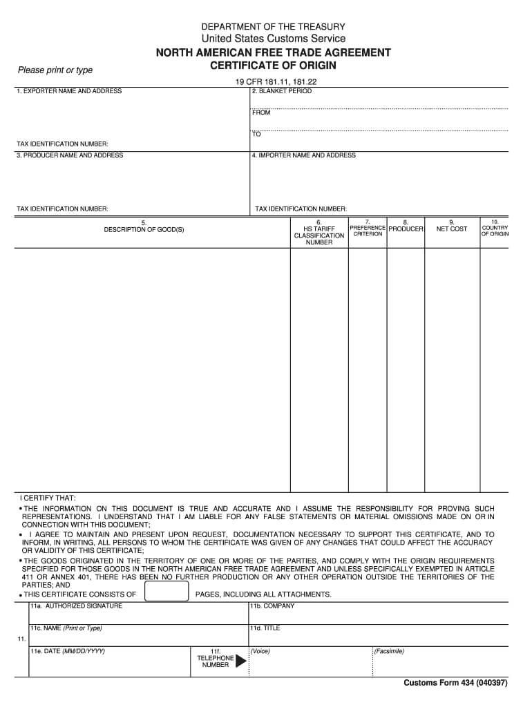 Nafta Certificate Of Origin - Fill Online, Printable With Regard To Nafta Certificate Template