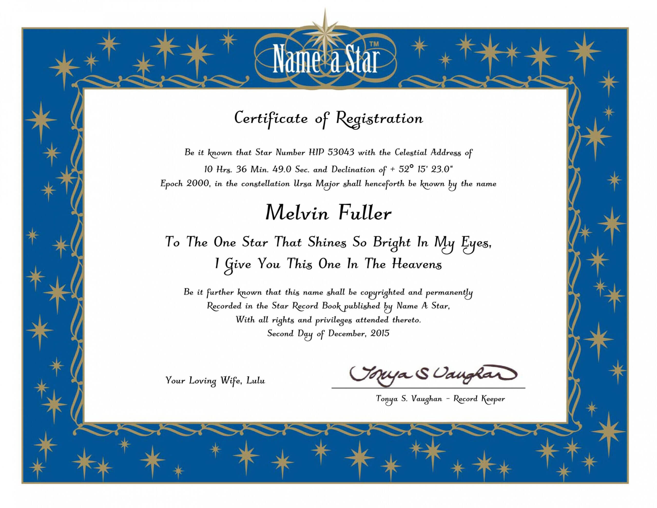 Name A Star Certificate Template With Regard To Star Naming Certificate Template