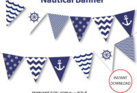 Nautical Banner, Printable Banner, Nautical, Diy Party, Navy Intended For Nautical Banner Template