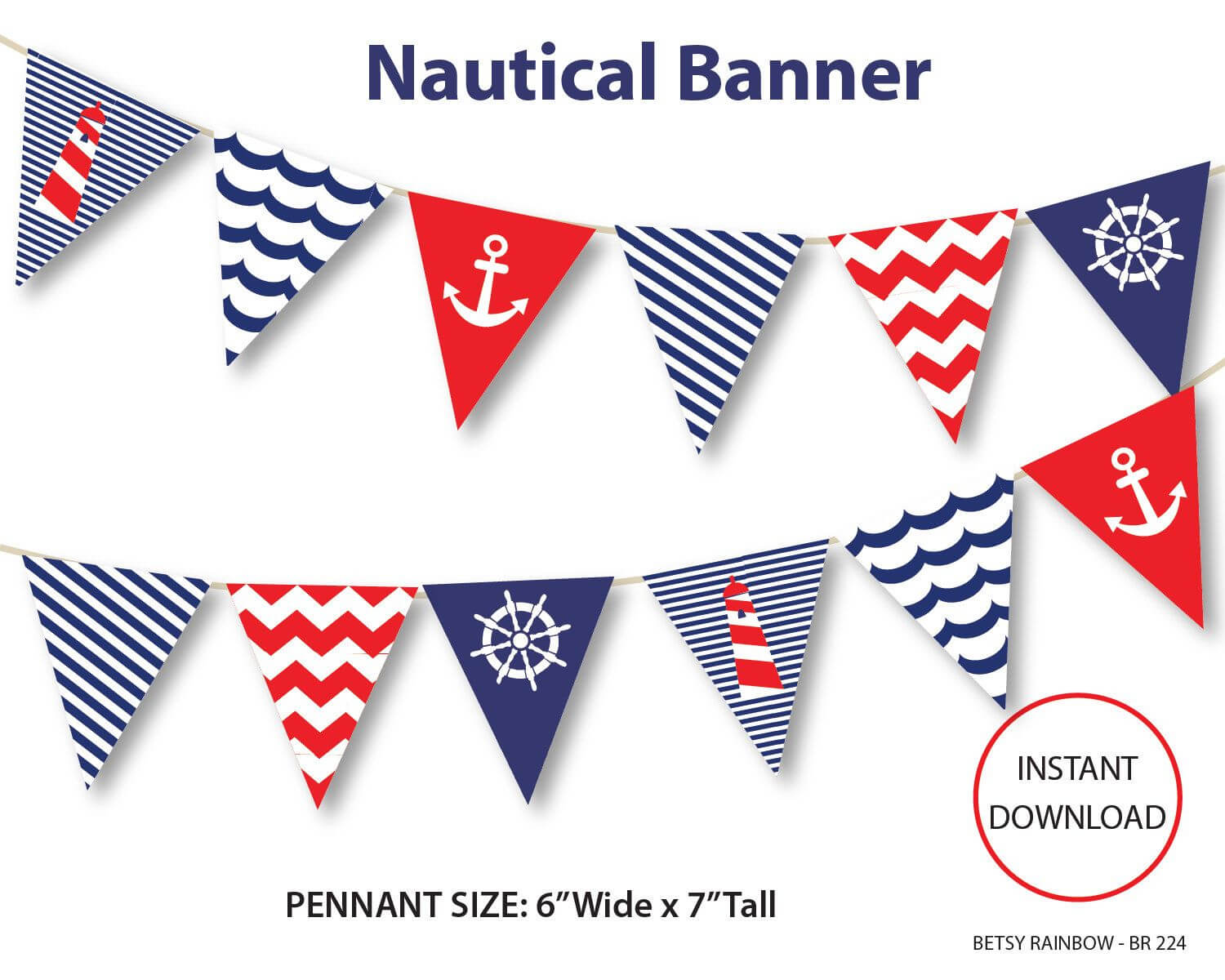 Nautical Banner, Printable Banner, Nautical, Diy Party, Navy With Regard To Nautical Banner Template