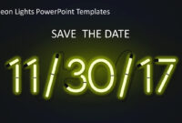 Neon Lights Powerpoint Templates with Save The Date Powerpoint Template