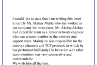Network Engineer Experience Certificate-01 | Best Letter in Certificate Of Experience Template