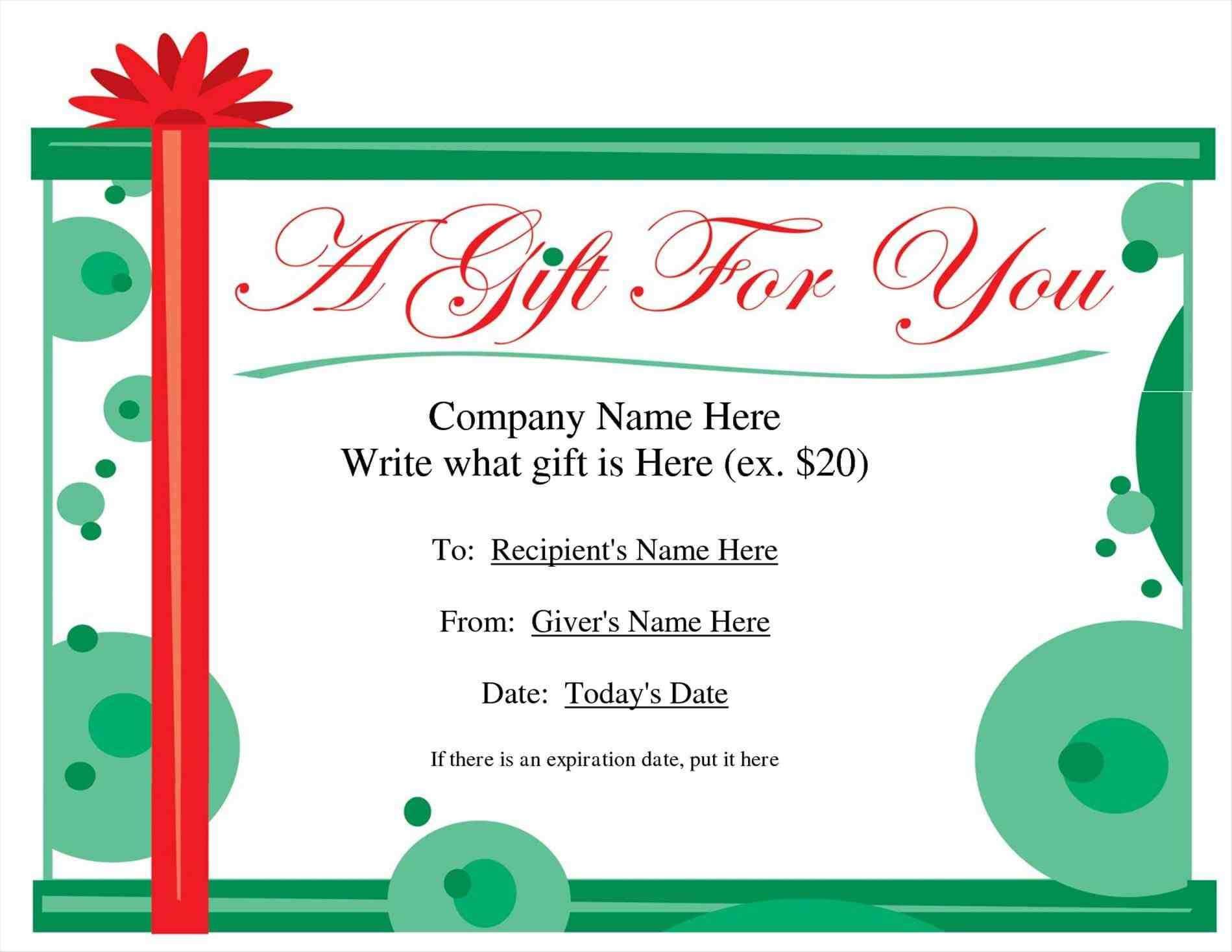 New Christmas Present Writing Template At Temasistemi Inside Printable Gift Certificates Templates Free