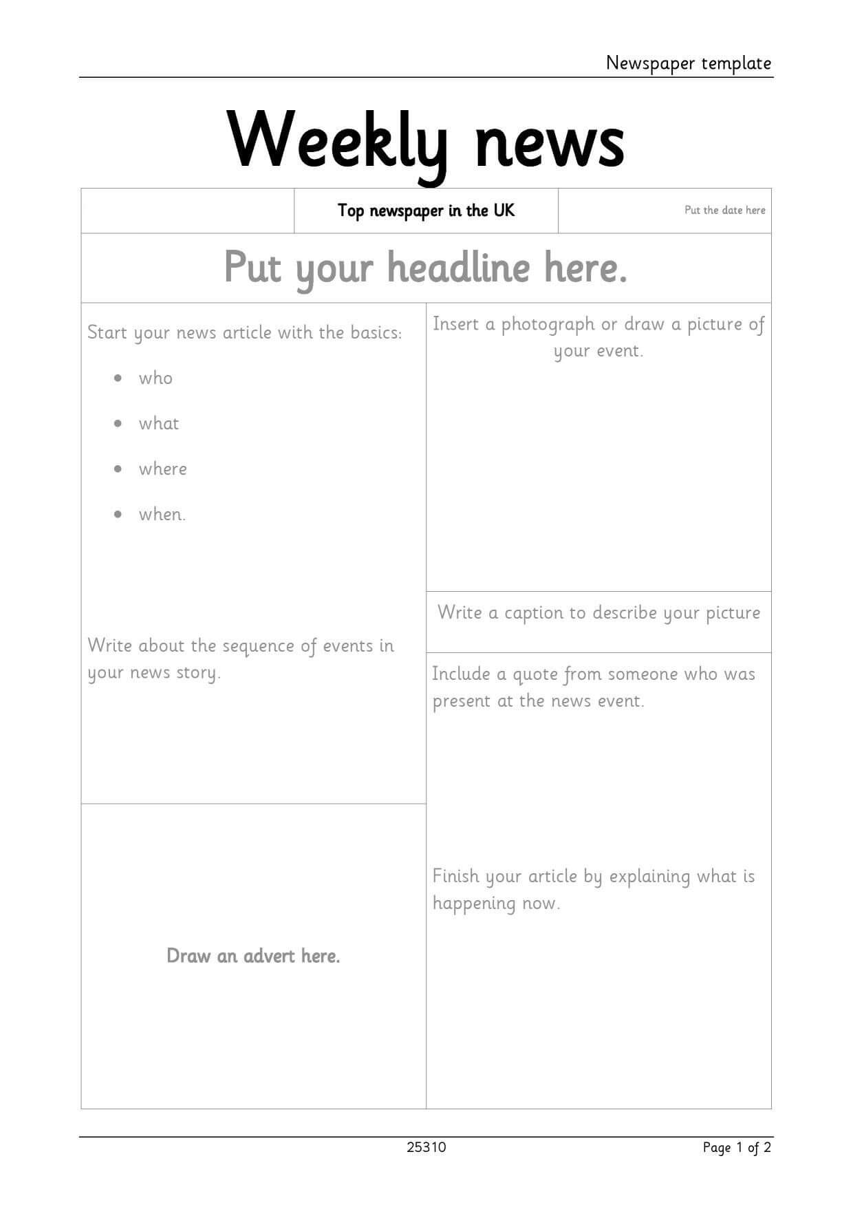 Newspaper Template For Microsoft Word. For Blank Newspaper Template For Word