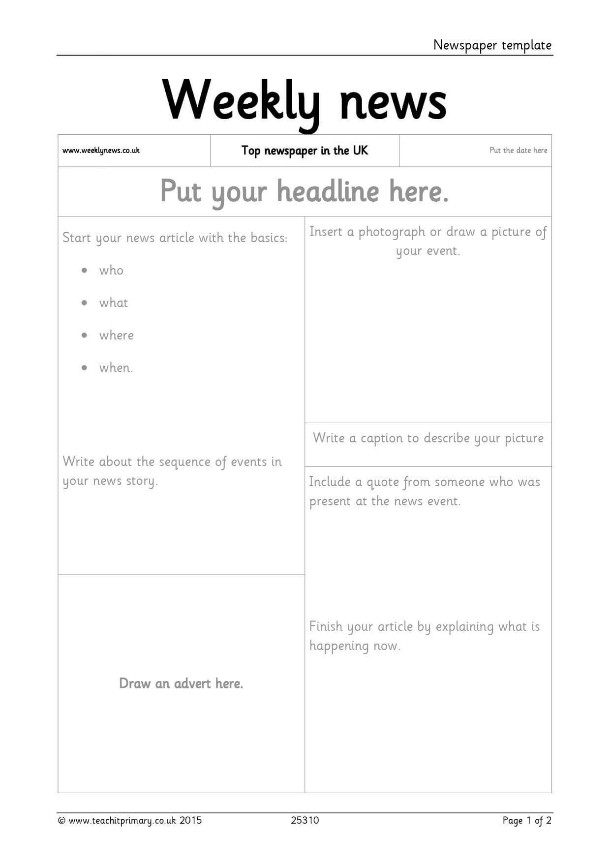 Newspaper Template Pertaining To Report Writing Template Ks1