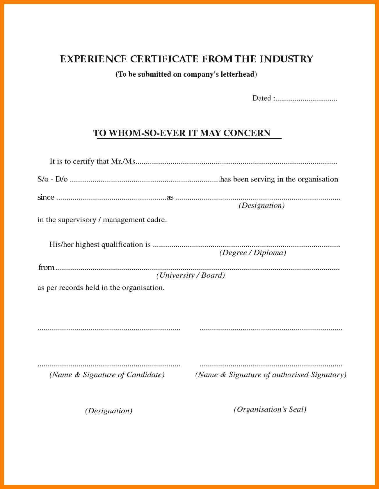 Ngo Experience Letter Format Brilliant Ideas Of Work Pdf With Certificate Of Service Template Free