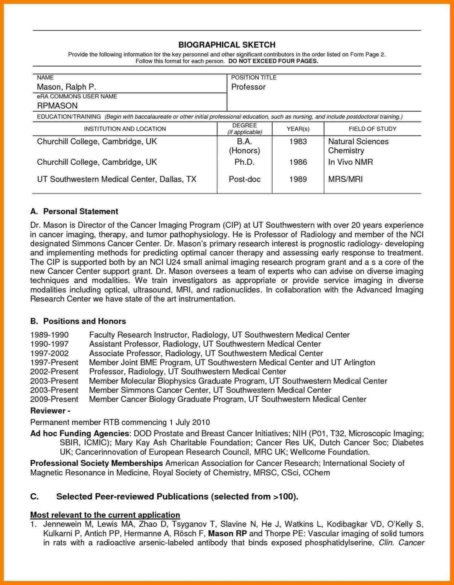 Nih Biosketch Template Doc | Digitalhiten Inside Current Nih Intended For Nih Biosketch Template Word