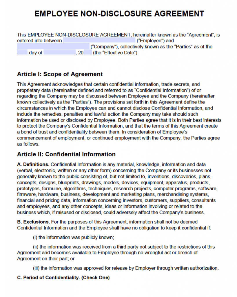 Non Disclosure Agreement (Nda) Template – Sample With Regard To Nda Template Word Document