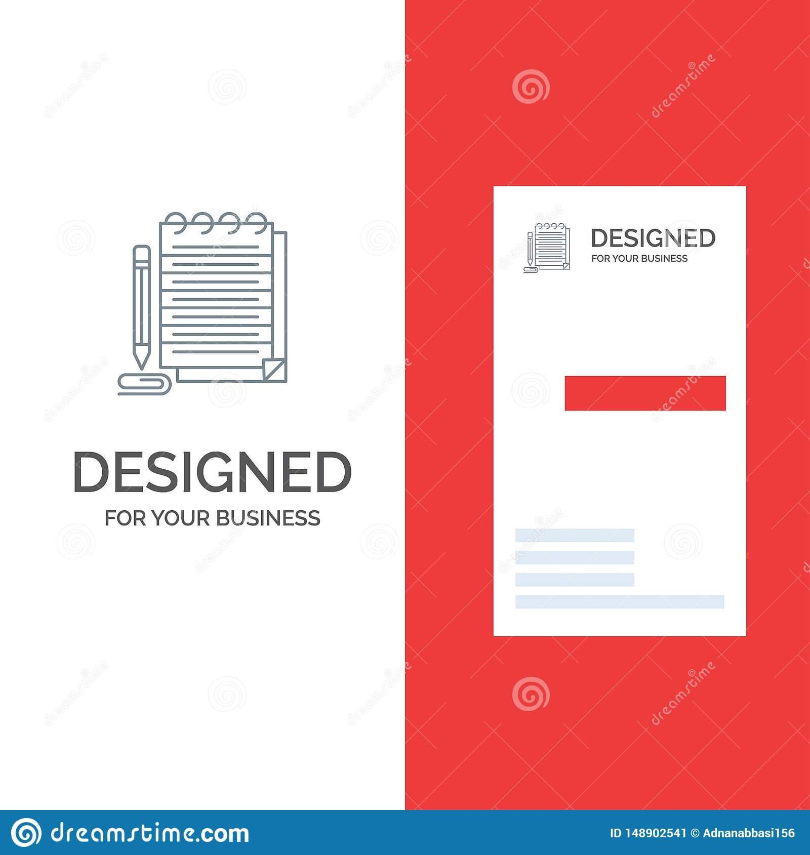 Notepad, Notebook, Pad, Novel Grey Logo Design And Business Regarding Library Catalog Card Template