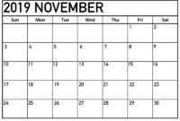 November 2019 Printable Calendar One Page Template – Latest for Full Page Blank Calendar Template