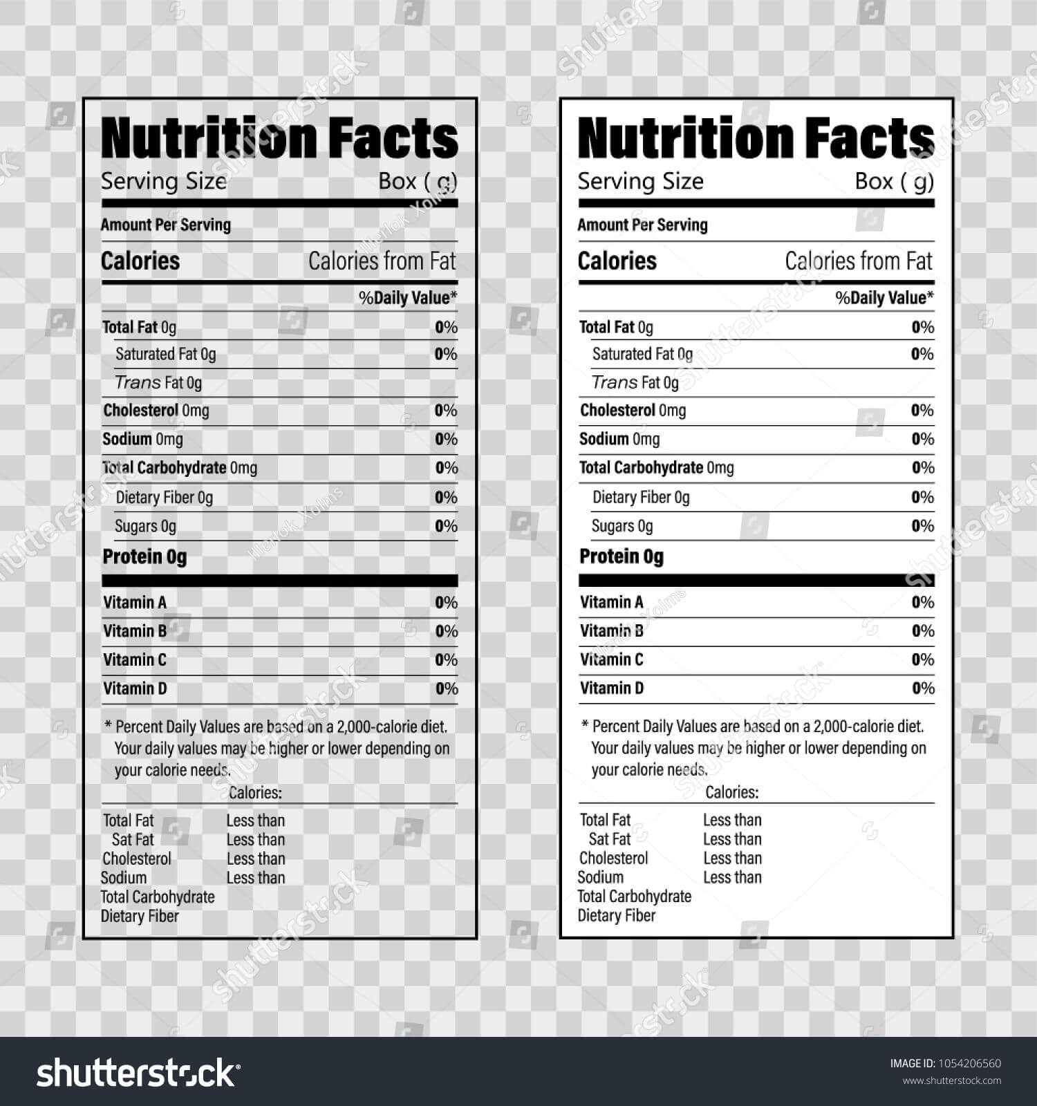 Nutrition Facts Information Label Template. Daily Value Intended For Nutrition Label Template Word