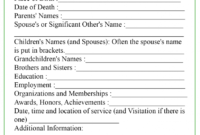 Obituary Template regarding Fill In The Blank Obituary Template