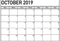 October 2019 Calendar Printable Word Template – Latest with regard to Blank Calander Template