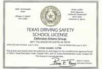 Online Defensive Driving Course Texas With Printable in Safe Driving Certificate Template