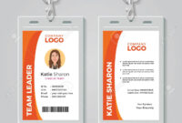Orange And White Corporate Id Card Template for Work Id Card Template