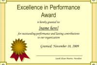 Outstanding Excellence In Performance Awards Certificate for Star Performer Certificate Templates