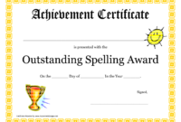 Outstanding Spelling Award Printable Certificate Pdf Picture inside Free Softball Certificate Templates