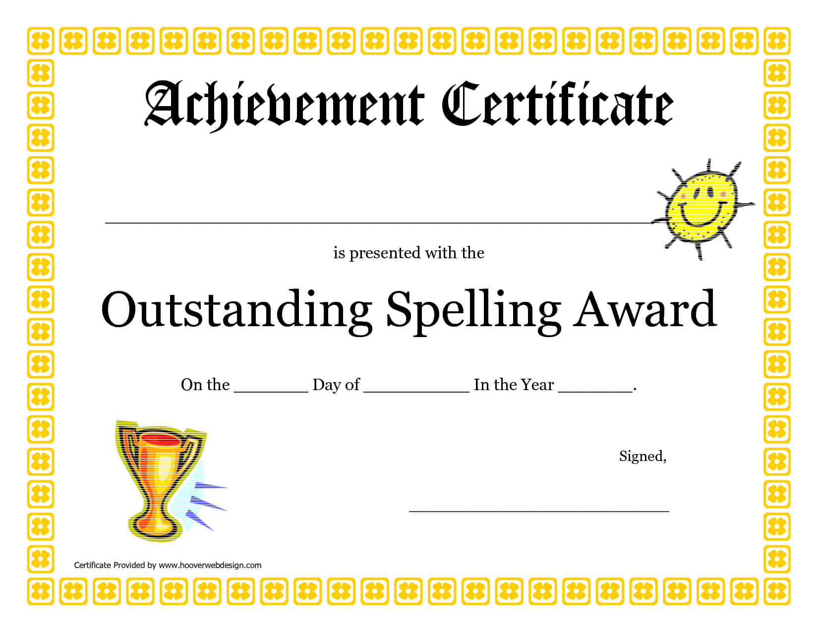 Outstanding Spelling Award Printable Certificate Pdf Picture Throughout Spelling Bee Award Certificate Template