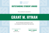 Outstanding Student Certificate Template with regard to Student Of The Year Award Certificate Templates
