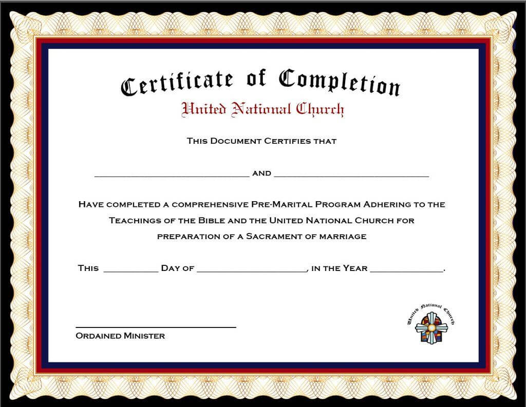 Pack Of 4 Marriage Counseling Completion Certificates Within Premarital Counseling Certificate Of Completion Template